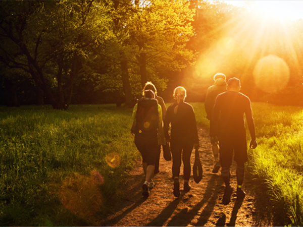 Illusrasion of a group of 4 people taking a walk in the sunset