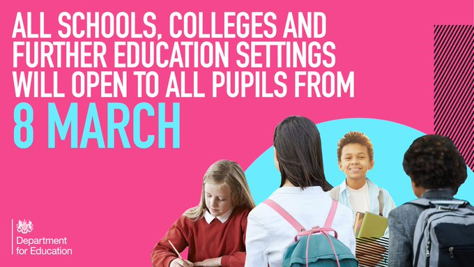 All schools, colleges and further education settings will open to all pupils from 8 March/