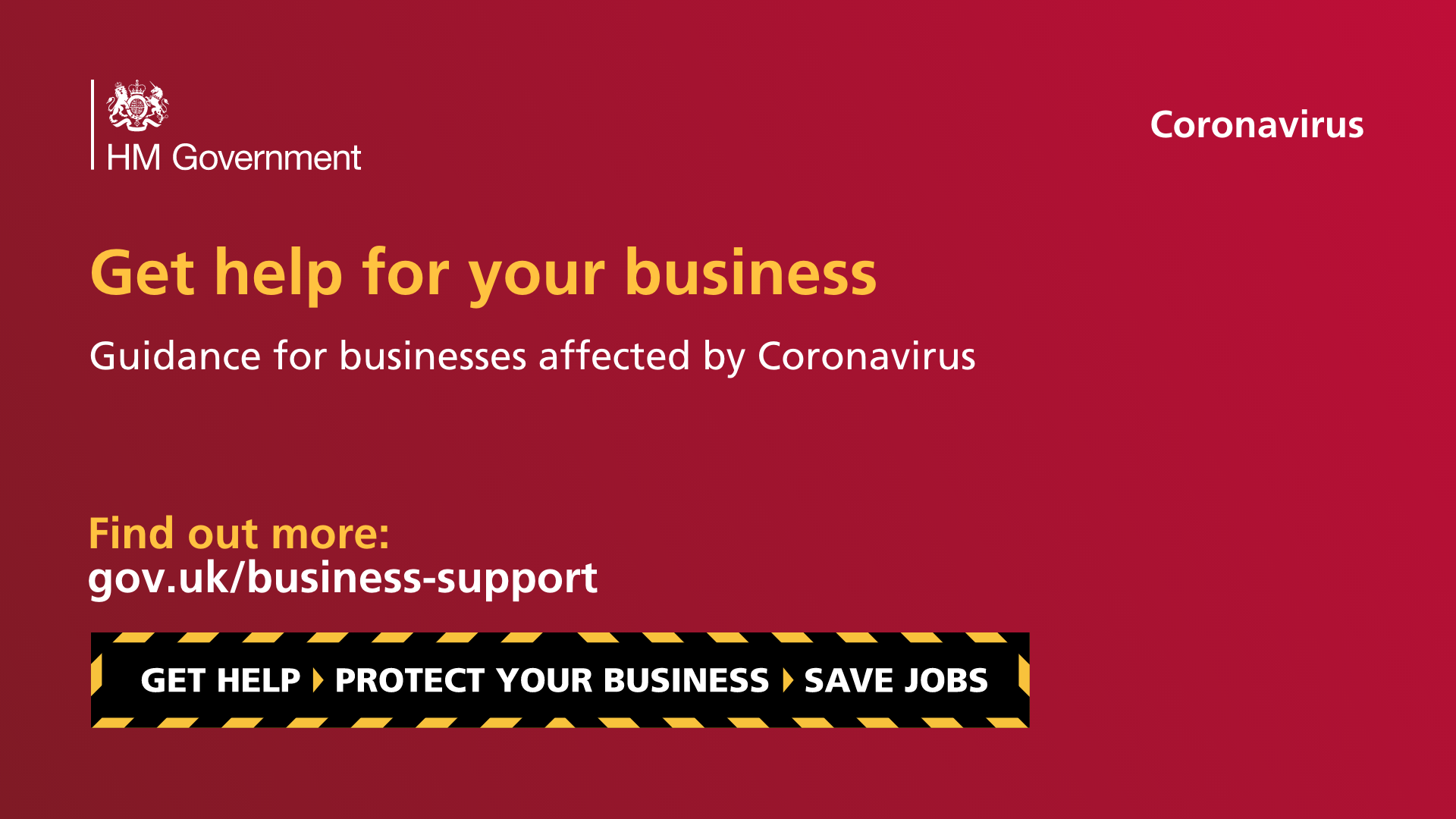 A banner to advertise business support from GOV.UK
