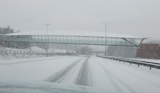 Image of the A442 in snow
