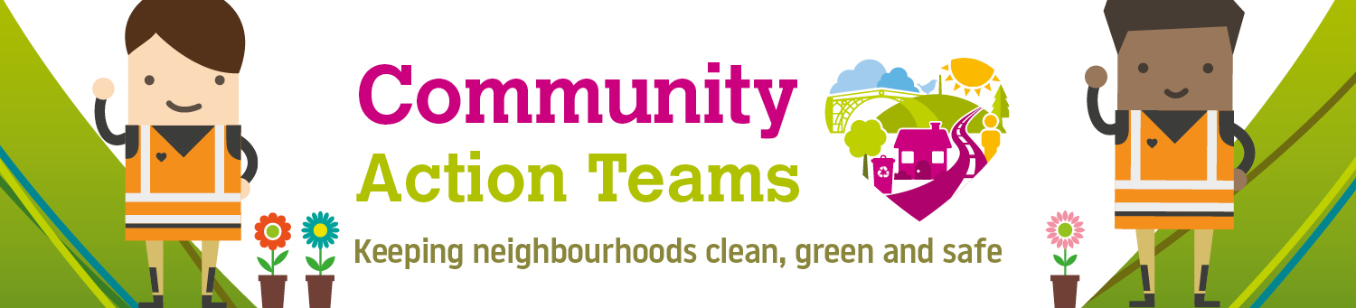 Community Action Team header - image of two people and the pride in our community logo and plant pots.
