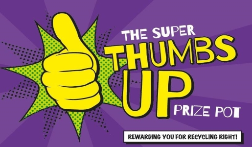 Thumbs up, prize pot, recycling