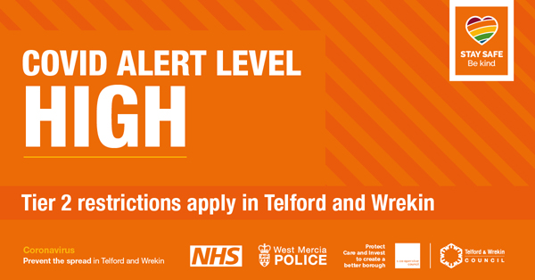 "Illustration of a box with an orange background with the words in white ""COVID alert level high, Tier 2 restrictions apply in Telford and Wrekin"""