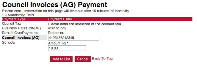 A screenshot of the invoice payment screen