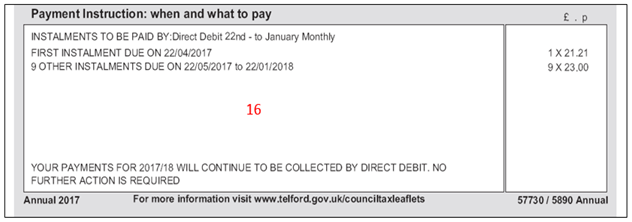 A screenshot of the Council Tax annual bill