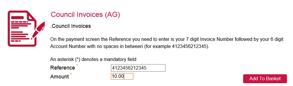 A screenshot showing an example of how to complete the required fields to pay an invoice on our eStore payment system
