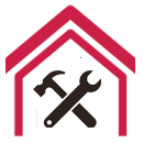 Illustration of a red outline of a house with a black spanner and hammer inside it.