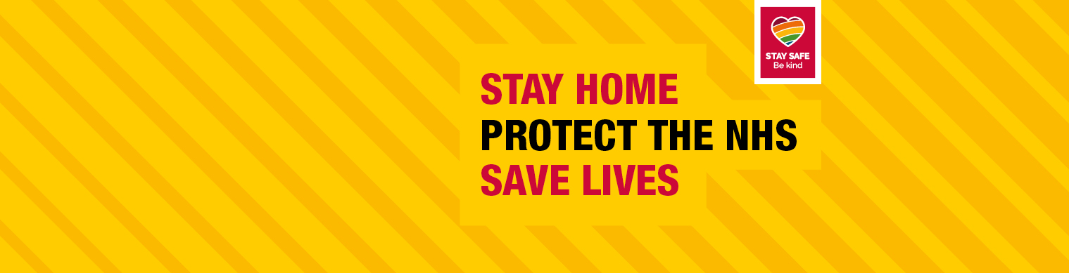 "Illustration of a yellow box with the words ""Stay home, protect the NHS and save lives"" wrote on the inside of the box"