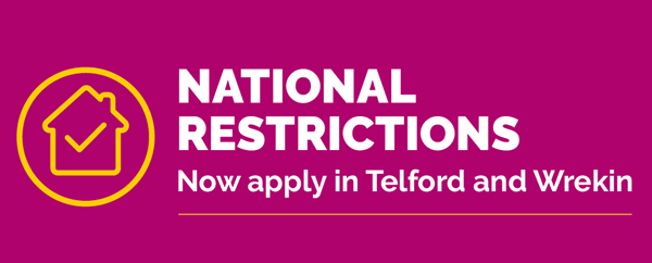 Illustration of a purple banner with the words National Restrictions now apply in Telford and Wrekin