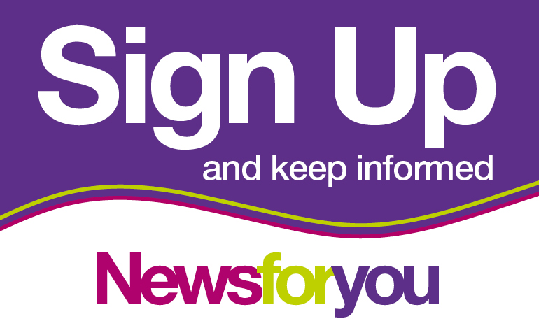 A graphic signposting the News for You email alert service