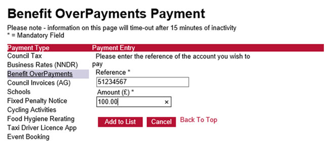overpayments illustration screen