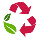 Illustration of a red recycling symbol