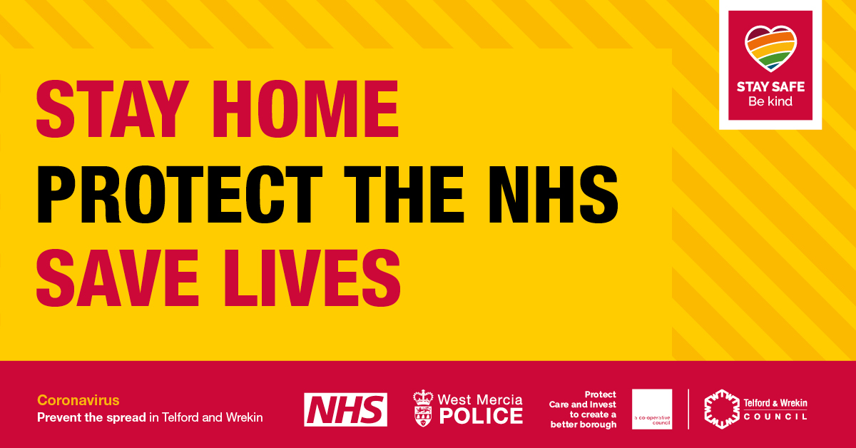 "Illustration of a yellow banner with the word ""Stay home, protect the NHS and save lives"" written on it"