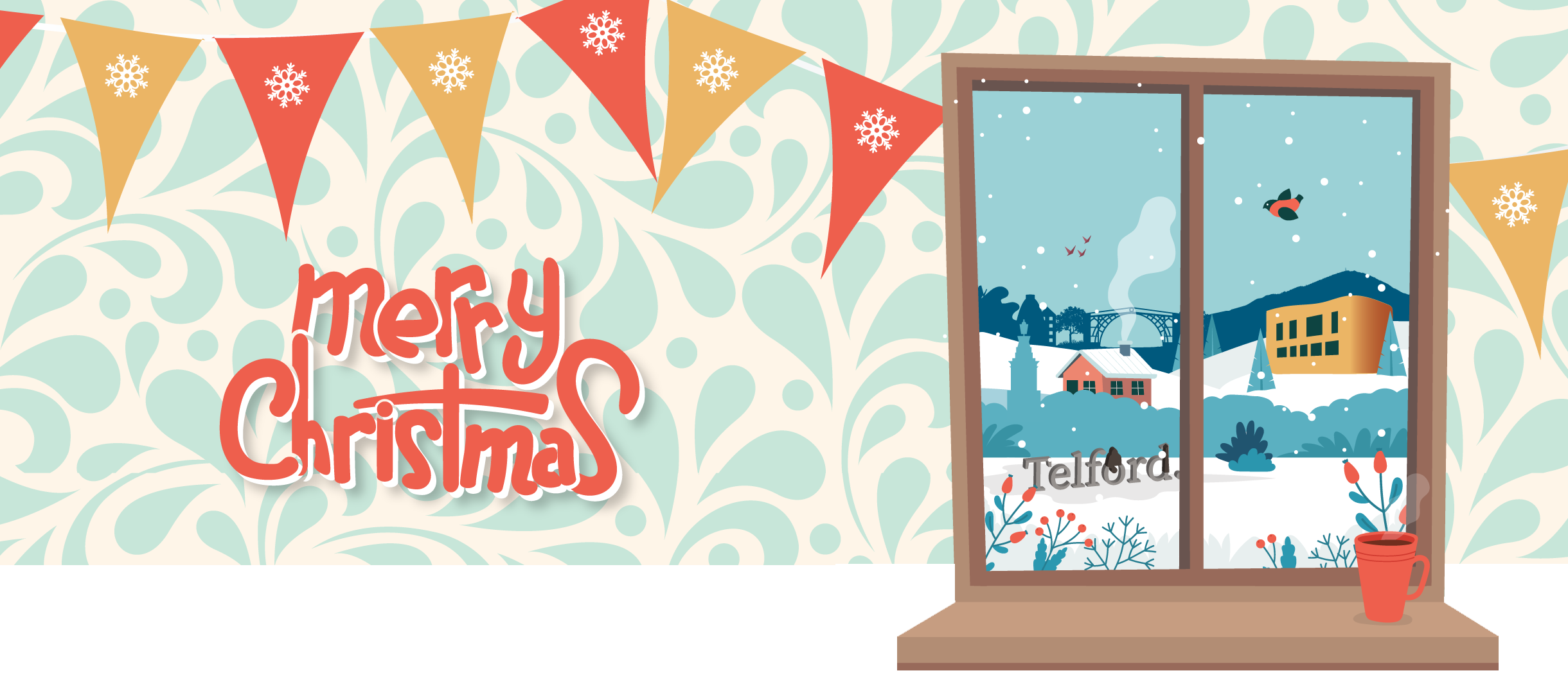 """Illustration of orange and yellow bunting and a window displaying a snowy Christmas display with the words """"Merry Christmas"""""""