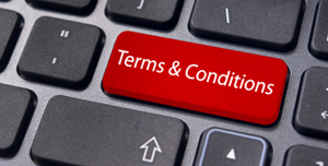 terms and conditions written on a keyboard